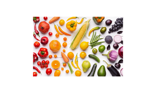Dialysis Dietitian. Example of potassium. Picture of colorful fruits and vegetables. Healthy life on dialysis.