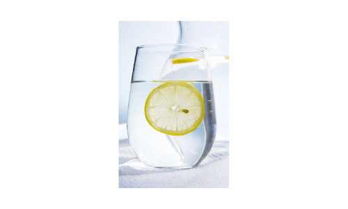 Picture of glass of water with lemon slice. Dialysis Dietitian. Drinking to support healthy fluid gains. Healthy life on dialysis.