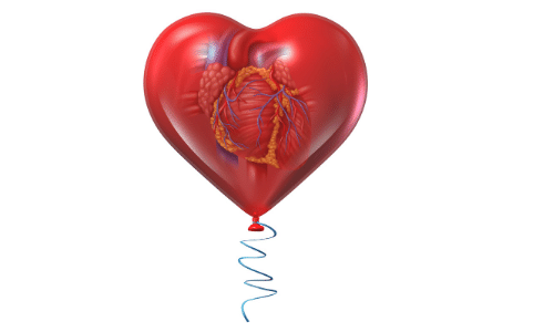Picture of a heart in a red balloon. Cardiovascular Health.
