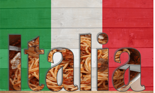 The word Italia with Italian flag colors in background.