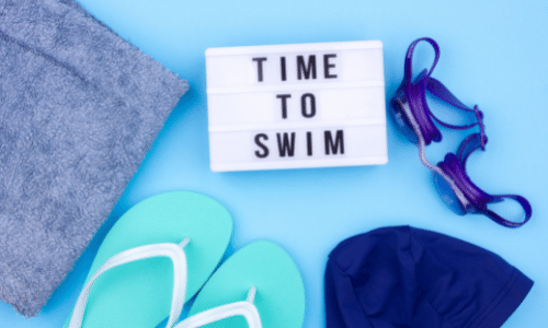 Time To Swim. Picture of goggles, flip flops, swim cap, and towel. Swimming  And Protecting Your Access. Top Summer Tips For Dialysis Patients.